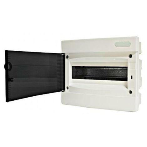 Coffret électrique encastré 12 modules 1 rangée avec porte translucide teintée