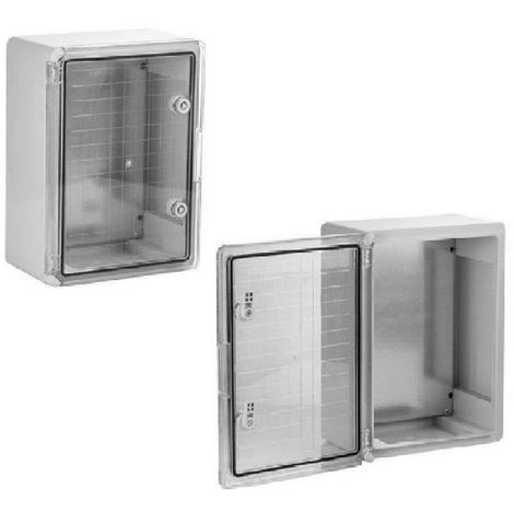 Coffret électrique étanche PORTE TRANSLUCIDE 400 x 300 x 170 mm IP65 avec plaque de fond