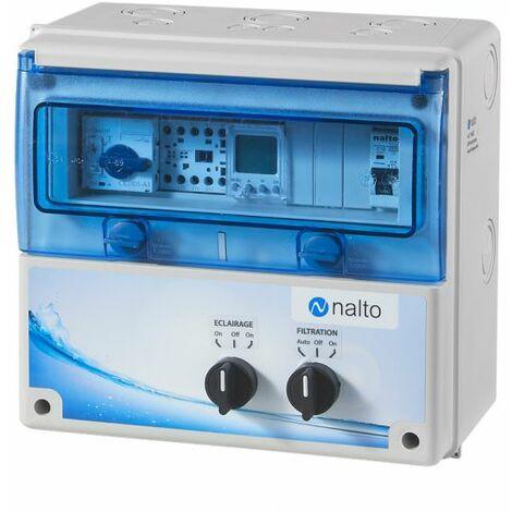 Coffret Electrique Piscine Filtration et 1 Projecteur 100W - Tableau étanche avec horloge NALTO