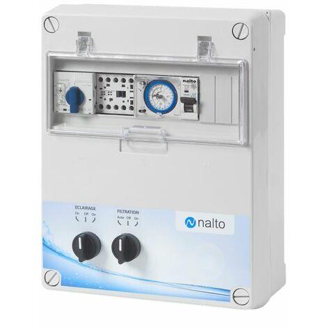 Coffret Electrique Piscine Filtration - Horloge Mécanique - 1 Circuit Eclairage 100W - NALTO