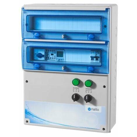 Coffret Electrique Piscine Multifonctions Filtration 1 Circuit d'Eclairage 100W + Protection Electrique Pompe à Chaleur NALTO