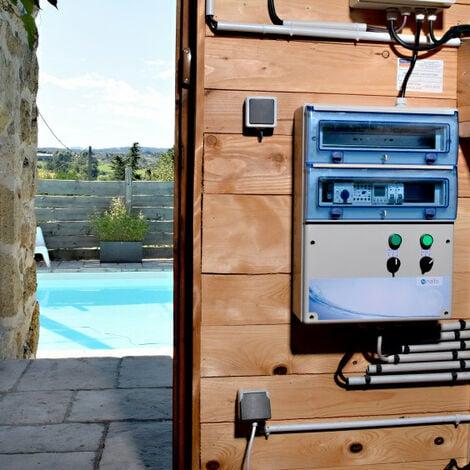 Coffret Electrique Piscine Multifonctions Personnalisable Filtration 2 Projecteurs 100W - Tableau étanche avec horloge NALTO
