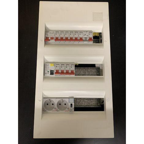 Coffret électrique pré-cablé 3 rangées pour logement T2 / T3 avec chauffage et chauffe-eau electrique PROTEC