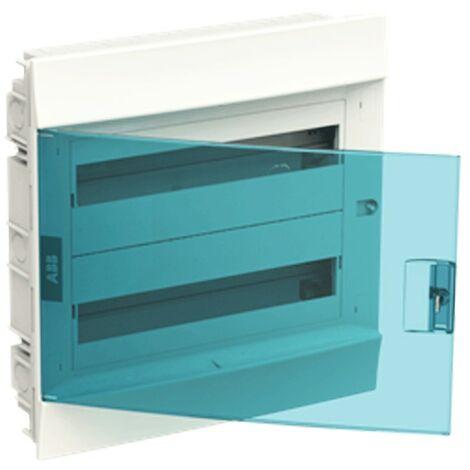 Coffret encastré blanc ABB 36 Modules IP40 porte bleu petrol 2 fils