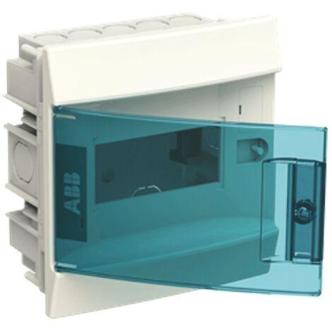 Coffret encastré blanche ABB 6 modules IP40 porte blue petrol