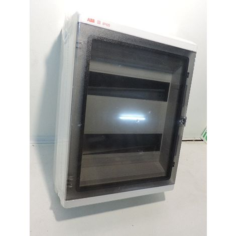 Coffret étanche gris 2 rangées de 12 modules IP65 porte transparente avec barette terre 275x370x140mm EUROPA ABB 153754