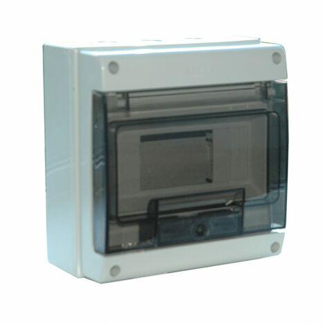 Coffret etanche IP65 + bornier - Debflex | 8 modules gris