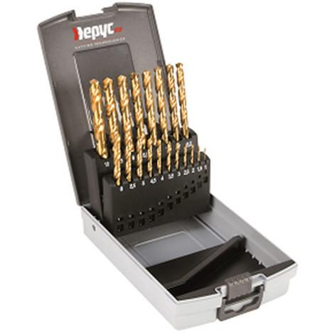 Coffret forets métal HSSTIN DIN338 D. 1 à 10 x 0,5 mm - 19 pièces