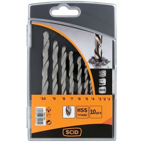 Coffret forets métaux titane SCID - 10 pièces