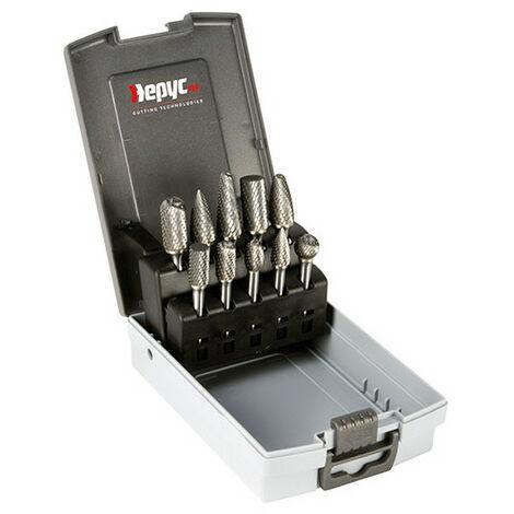 Coffret Fraises métal rotatives D. 10 à 12 mm - 10 pièces