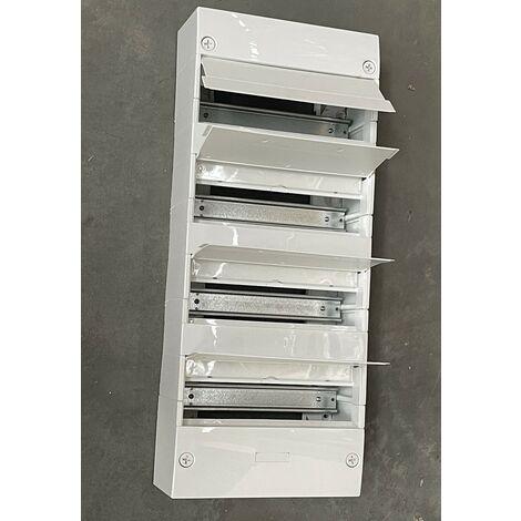 Coffret modulaire 4 rangées 52 modules blanc avec volet de fermeture intégré rail et borniers IP30 THOMSON THT52MOD