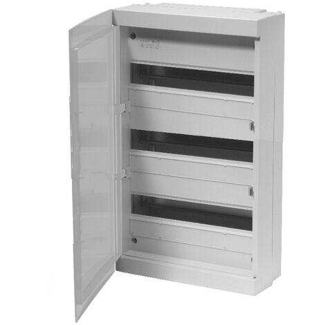 Coffret modulaire 54 modules 3 rangées avec porte opaque
