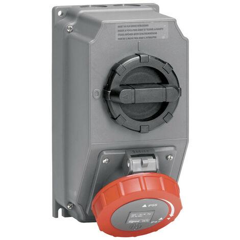 Coffret monoprise Hypra IP66-67 55 1 prise 3P+N+T 32A 380V~ à 415V~ et 1 interrupteur (059265)