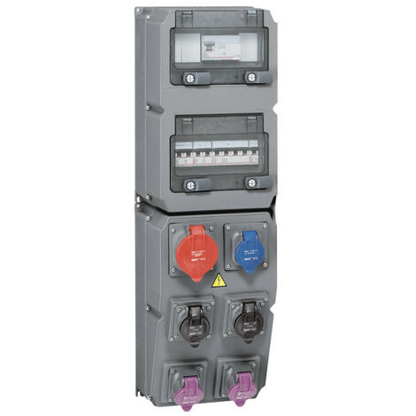 Coffret multiprise Hypra IP44 6 prises dont 1 prise 32A 3P+N+T, 1 disjoncteur et 1 interrupteur différentiel (059870)