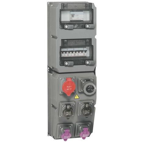 Coffret multiprise Hypra IP44 6 prises dont 1 prise 32A 3P+T, 1 disjoncteur et 1 interrupteur différentiel (059863)