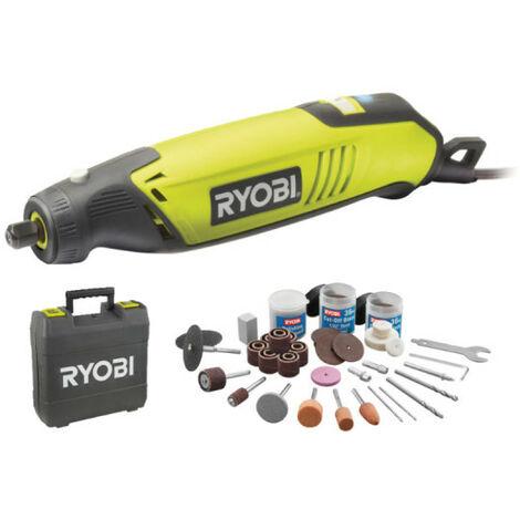 Coffret outils multifonctions RYOBI 150W - 115 accessoires - arbre flexible - support télescopique EHT150V