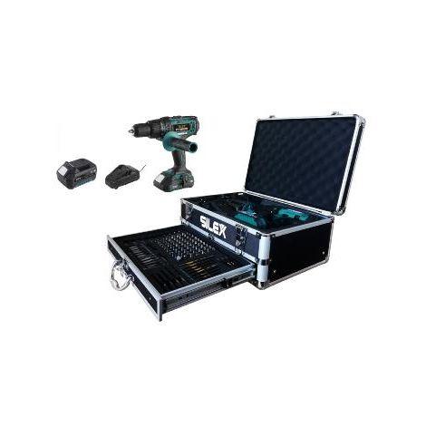 Coffret Perceuse visseuse percussion avec 2 batteries Li-Ion (2Ah & 5Ah Samsung) + 110 accessoires