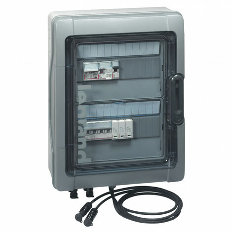Coffret Plexo3 photovoltaïque IP65 pré équipée et pré câblé 3kWc DC + AC pour 1 ou 2 chaînes 2 rangées de 12 modules (414001)