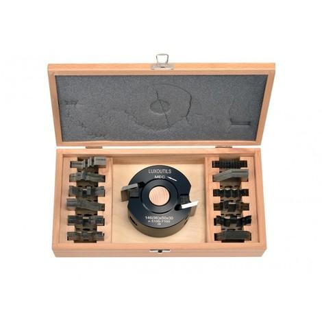 Coffret porte outils 50 mm + 13 jeux de fers 50 mm pour toupie al: 30 mm