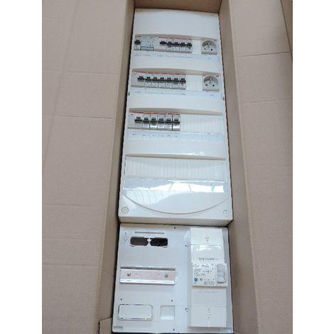 Coffret pré-équipé 4R avec protections + platine disjoncteur EDF 15-45A 500mA pour T1/T2 sans chauffage electrique ABB 2410482