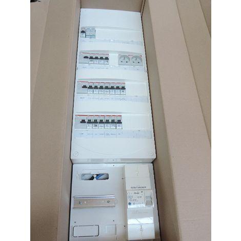 Coffret pré-équipé 4R avec protections + platine disjoncteur EDF 15-45A 500mA pour T3 avec chauffage electrique ABB 2412199
