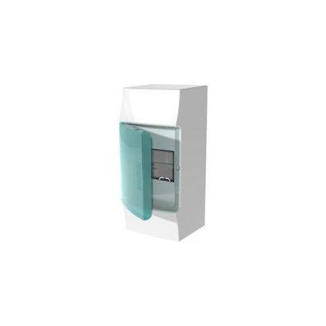 Coffret saillie blanc 1X4 modules plastique blanc 100X223X96mm 650° avec porte transparente IP41 MISTRAL 41W ABB F712020
