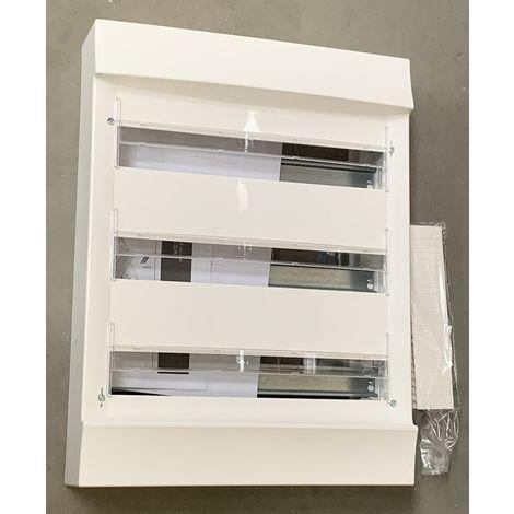 Coffret saillie blanc 3X18 modules plastique blanc 387X512X118mm 960° sans porte entraxe 125mm IP20 MISTRAL 30W ABB L619645