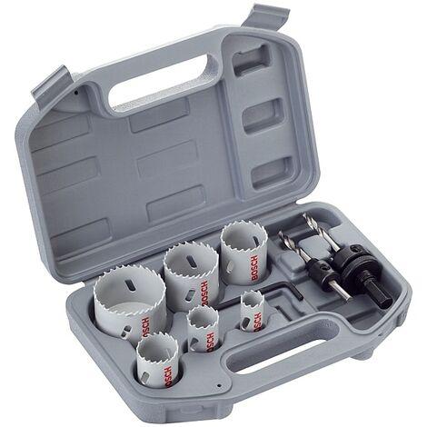 Coffret scies-trépans bimétal électricien, Ø 20, 25, 35, 40, 51 et 68 mm avec 2 adaptateur et foret de centrage