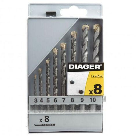 Coffrets de forets bétons à plaquette carbure et queue cylindrique série flash. - DIAGER