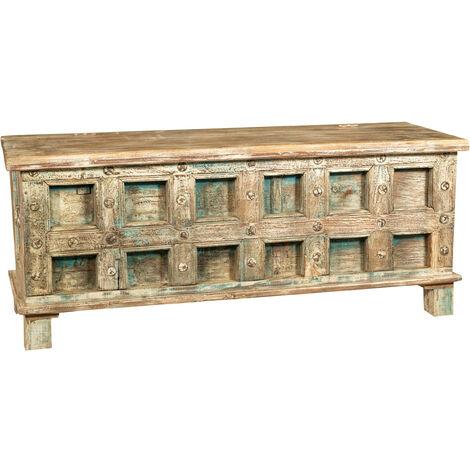 Cofre, baúl, banco, contenedor, estuche, original antiguo en madera de teca tallada con acabado en escabeche