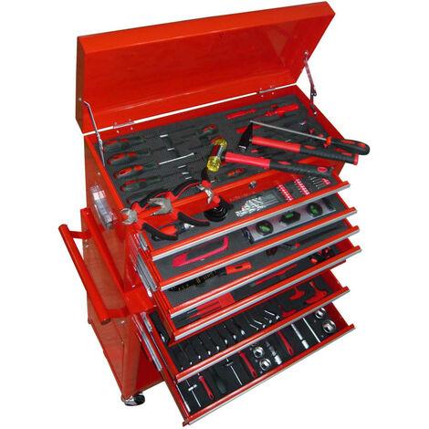 Cofre para herramientas con 7 compartimentos 250 piezas