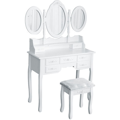 Coiffeuse 7 tiroirs 3 miroirs rabattables tabouret 90 x 40 x 148 cm Grande commode Table de maquillage