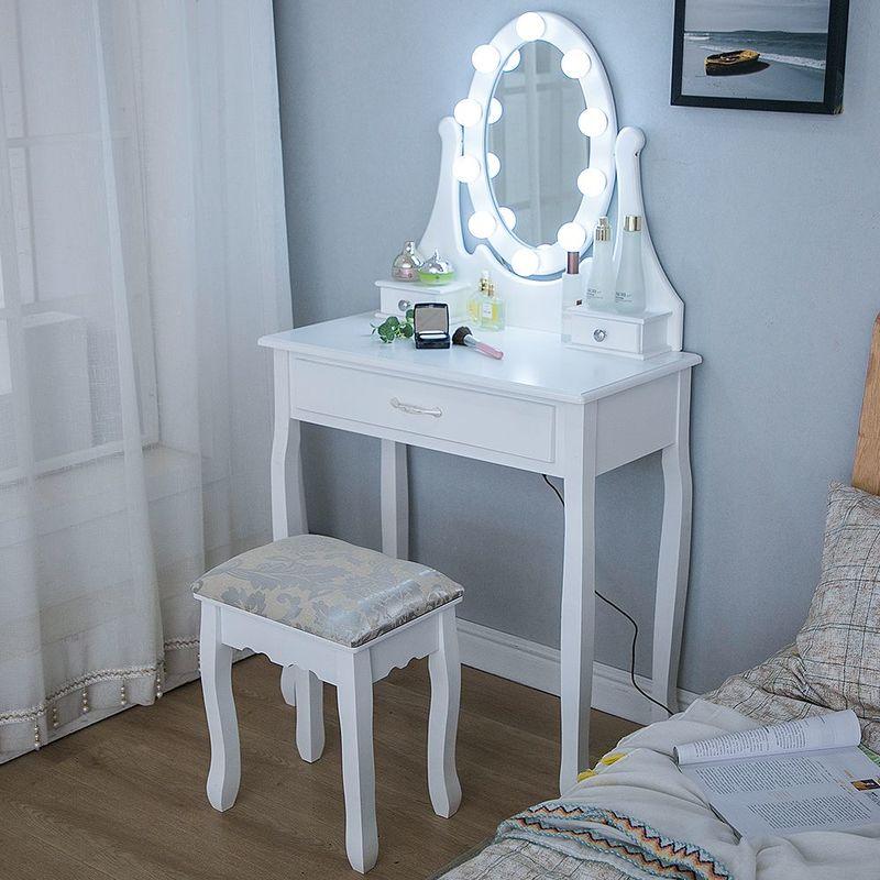 Coiffeuse avec Lumière LED et Tabouret, Miroir Ovale Table de Maquillage à 3 Tiroirs Lampe Blanche Romantique