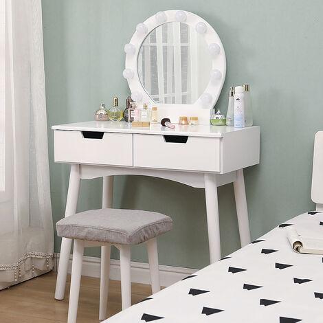 Coiffeuse avec Lumière LED Miroir Ovale Table de Maquillage Contemporain avec Tabouret 131*80*40cm Blanc