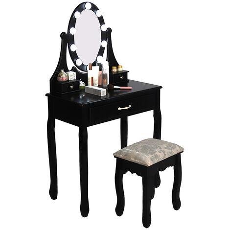 """main image of """"Coiffeuse avec Lumière LED Miroir Ovale Table de Maquillage Contemporain avec Tabouret 75*40*139cm - noir - Noir"""""""