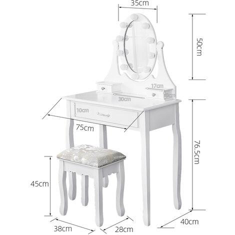Coiffeuse avec Lumière LED Miroir Ovale Table de Maquillage Contemporain avec Tabouret