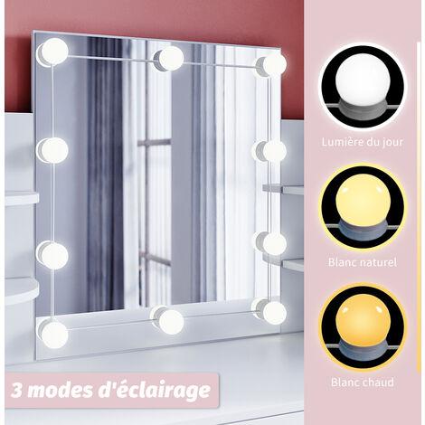 Coiffeuse avec Miroir et Tabouret - 108x40x140cm - 10 Ampoules LED - Blanc - Table de Maquillage, SIRHONA
