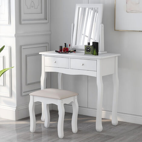 Coiffeuse avec miroir et tabouret, commode de bureau de maquillage fille avec 2 tiroirs,pour chambre, blanc