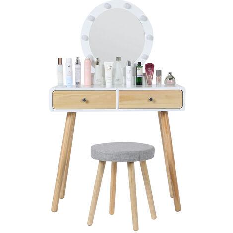 """main image of """"Coiffeuse avec miroir LED et tabouret"""""""