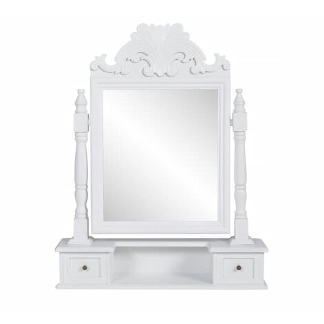 Coiffeuse avec miroir pivotant rectangulaire MDF