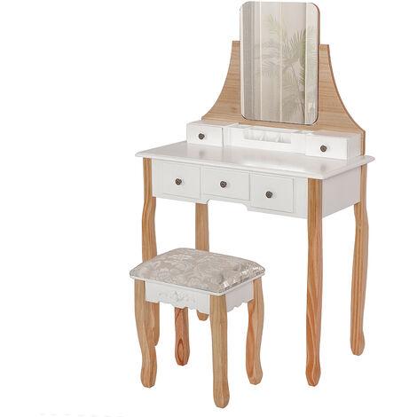 Coiffeuse avec miroir sans cadre + 5 Tiroirs Boîte de rangement + Tabouret Blanc-couleur bois - Blanc-couleur bois
