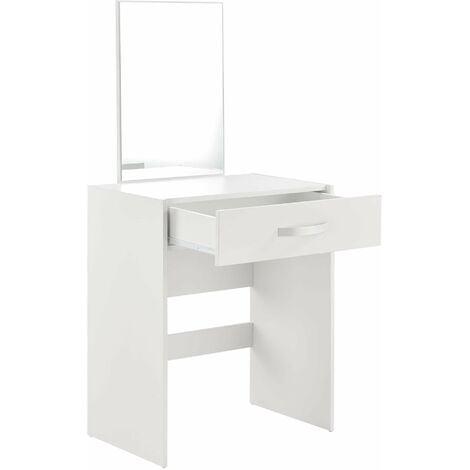 Coiffeuse avec miroir tiroir tabouret commode de coiffure 132 cm blanc - Blanc