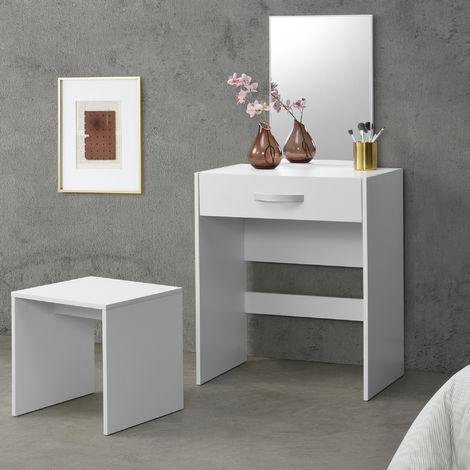 Coiffeuse avec Miroir Tiroir Tabouret Commode de Coiffure Panneaux de Particules Mélaminés 132 x 63 x 39 cm Blanc