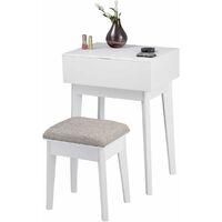 Coiffeuse avec Tabouret et 1 Miroir Rabattable Table de Maquillage Coiffeuse Moderne pour la Chambre, 55 x 40 x 77 cm Blanch