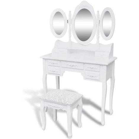 Coiffeuse Avec Tabouret Et 3 Miroirs Blanc
