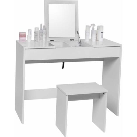 Coiffeuse avec tabouret pliant & miroir en blanc