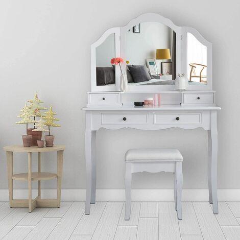 Coiffeuse avec Tabouret, Table de Coiffeuse avec 3 miroirs, 4 tiroirs, Autocollants antidérapants Blanc