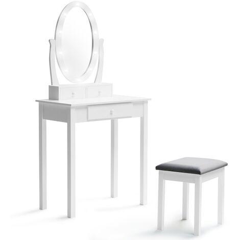 Coiffeuse Bella avec miroir LED et tabouret