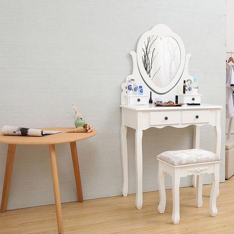 Coiffeuse Blanc, Table de Maquillage, avec 1 Miroir Orientable, 4 Tiroirs, 1 Tabouret