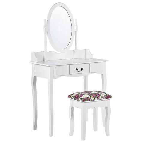Coiffeuse blanche 1 tiroir avec miroir et tabouret SOLEIL